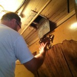 Checking AC duct for moisture