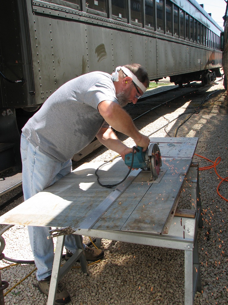 Chuck cutting new door panel (16 gauge galv sheet metal)